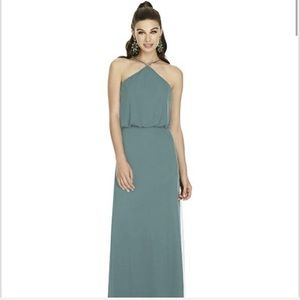Alfred Sung Smoke Blue Formal Dress Style #D738